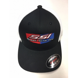 SSI FLEX FIT BLACK with WHITE MESH BACK HAT