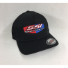 SSI FLEX FIT BLACK with BLACK MESH BACK HAT